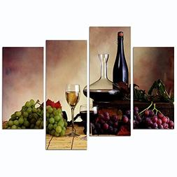 Sea Charm - Vintage Red Wine and Grape Canvas Wall Art Stret
