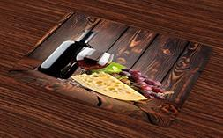 Ambesonne Wine Place Mats Set of 4, Red Wine Cabernet Bottle