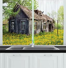 Ambesonne Wooden Decor Kitchen Curtains, Old Barn Farmhouse