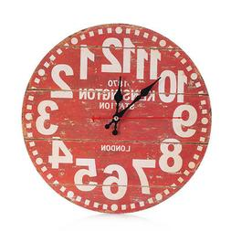 Wooden Wall Clock Shabby Rustic Vintage Antique Style Kitche