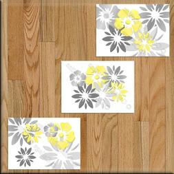 Yellow Gray Wall Art Picture Print Floral Bathroom Bedroom D