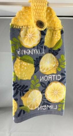 Yellow Lemons Decor Hanging Kitchen Terry Cloth Towel Hand C